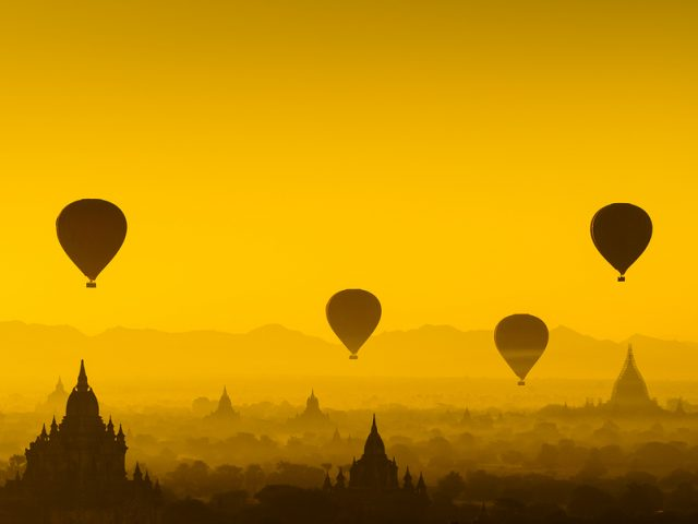 Balloon Over Plain Of Bagan In Misty Morning