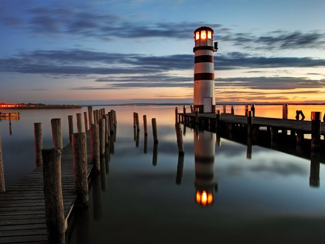 Lighthouse at night in Austria – Neusiedl lake